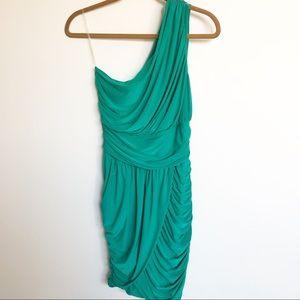 Soprano One-Shoulder Draped Mini Dress Green M